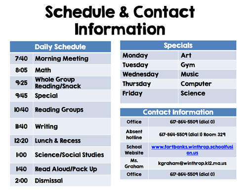 Schedule and Contact Information
