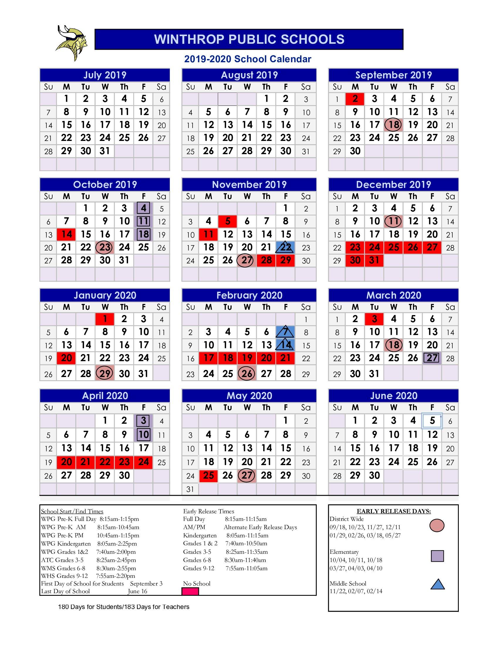 February 2020 Calendar Winthrop Massachusetts 2019   2020 School Calendar / calendario /calendário / التقويم المدرسي